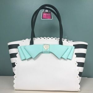 Betsey Johnson striped bow tote w/ makeup bag